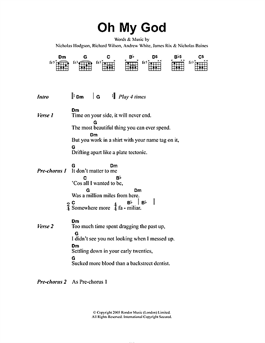 Oh My God (Guitar Chords/Lyrics)