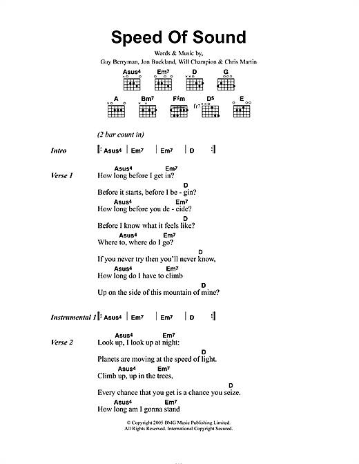 Speed Of Sound (Guitar Chords/Lyrics)