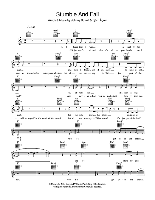 Stumble And Fall Sheet Music