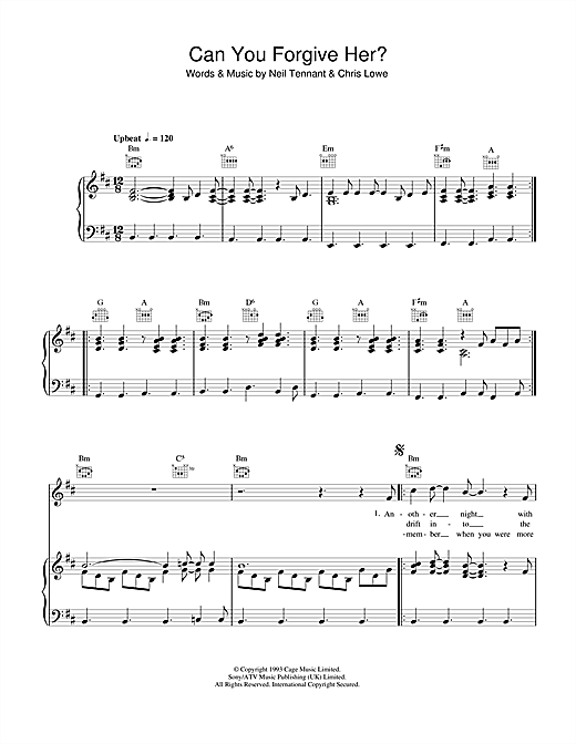 Can You Forgive Her? Sheet Music
