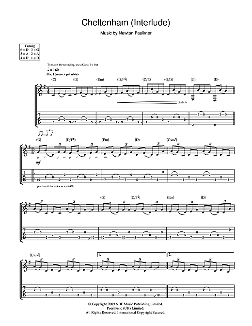 Tablature guitare Cheltenham (Interlude) de Newton Faulkner - Tablature Guitare