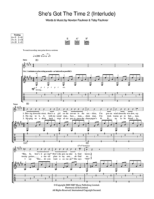 She's Got The Time 2 (Interlude) Sheet Music