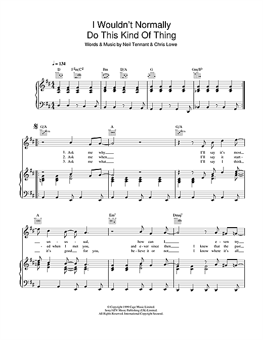 I Wouldn't Normally Do This Kind Of Thing Sheet Music
