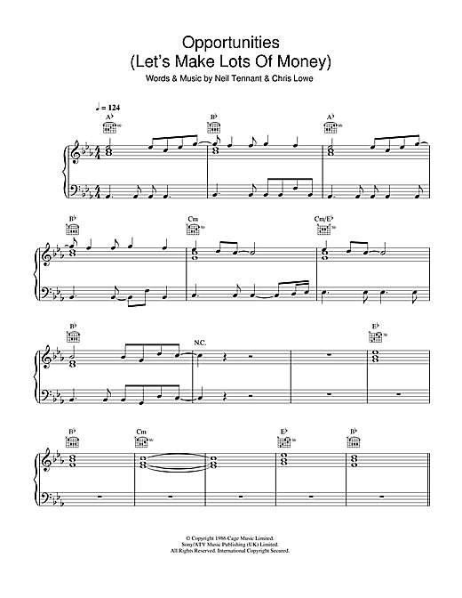 Opportunities (Let's Make Lots Of Money) Sheet Music