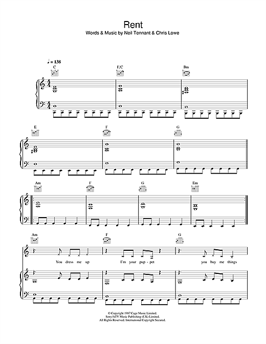 Rent (Piano, Vocal & Guitar (Right-Hand Melody))