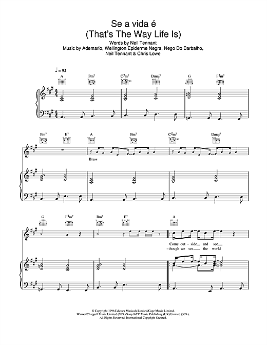 Se a vida é (That's The Way Life Is) Sheet Music