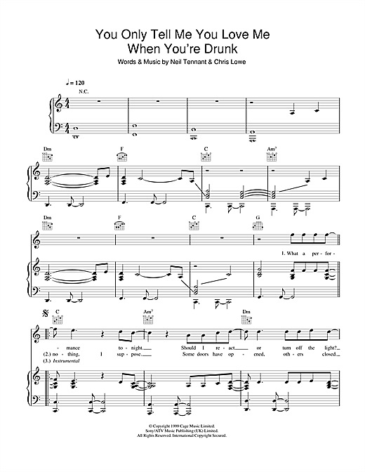 You Only Tell Me You Love Me When You're Drunk Sheet Music