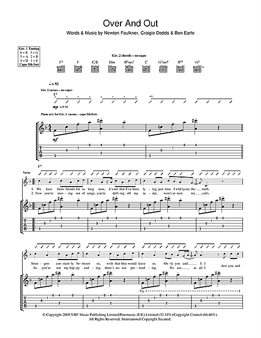 Over And Out Sheet Music