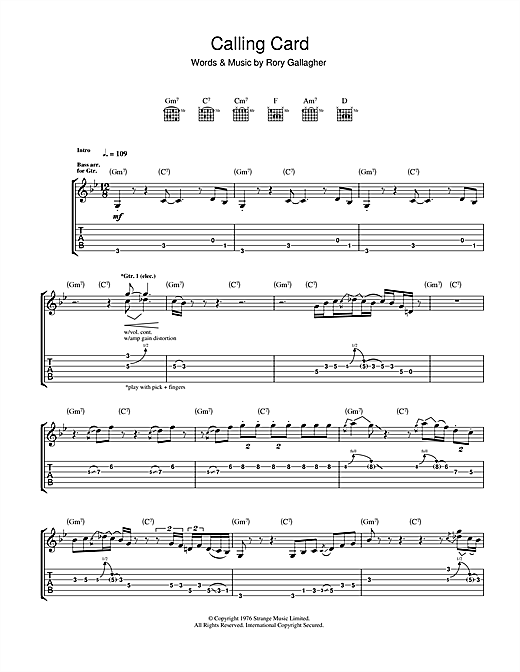 Calling Card Sheet Music