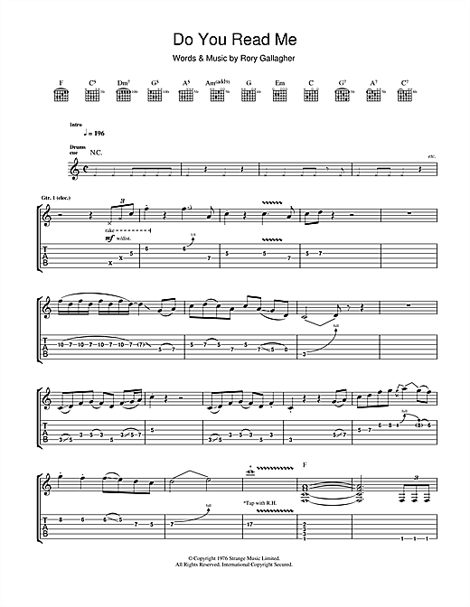 Tablature guitare Do You Read Me de Rory Gallagher - Tablature Guitare