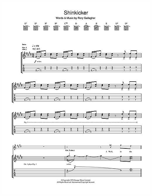 Tablature guitare Shinkicker de Rory Gallagher - Tablature Guitare