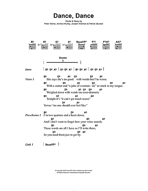 Dance, Dance Sheet Music