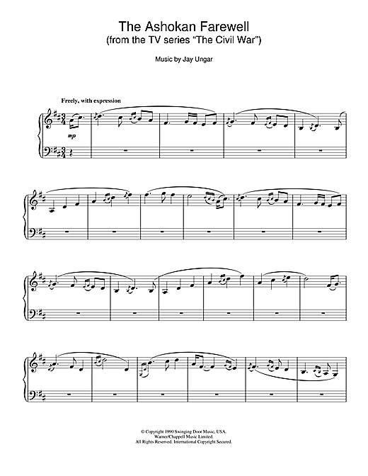 "The Ashokan Farewell (from the TV series ""The Civil War"") Sheet Music"