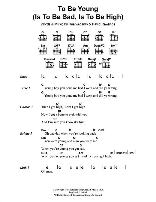 To Be Young (Is To Be Sad, Is To Be High) (Guitar Chords/Lyrics)