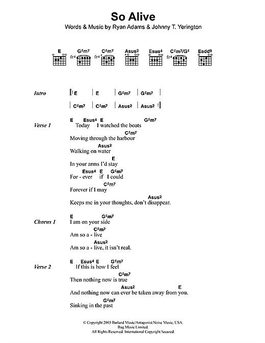 So Alive (Guitar Chords/Lyrics)