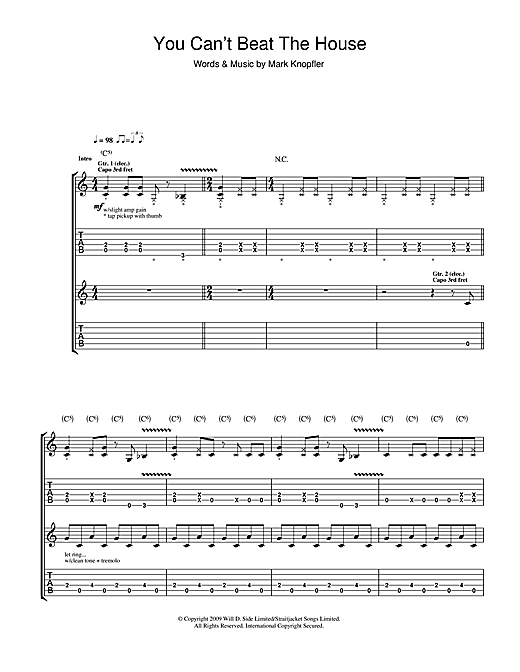 Tablature guitare You Can't Beat The House de Mark Knopfler - Tablature Guitare