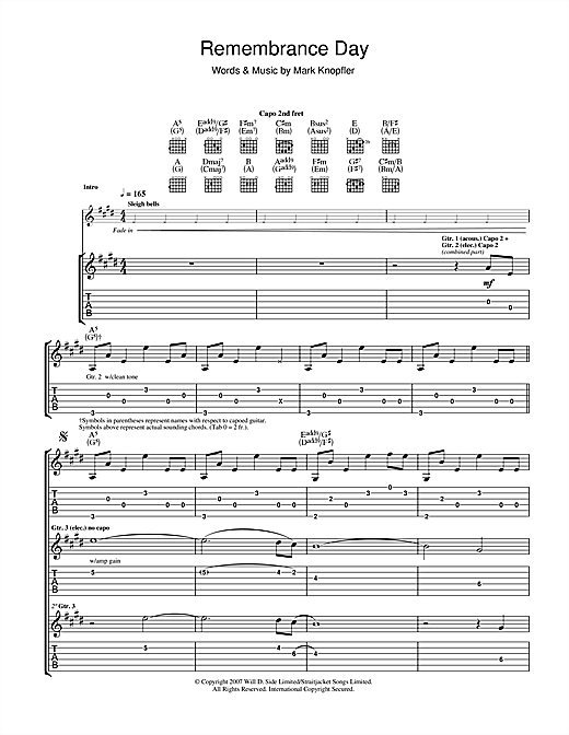 Tablature guitare Remembrance Day de Mark Knopfler - Tablature Guitare