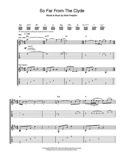 Tablature guitare So Far From The Clyde de Mark Knopfler - Tablature Guitare