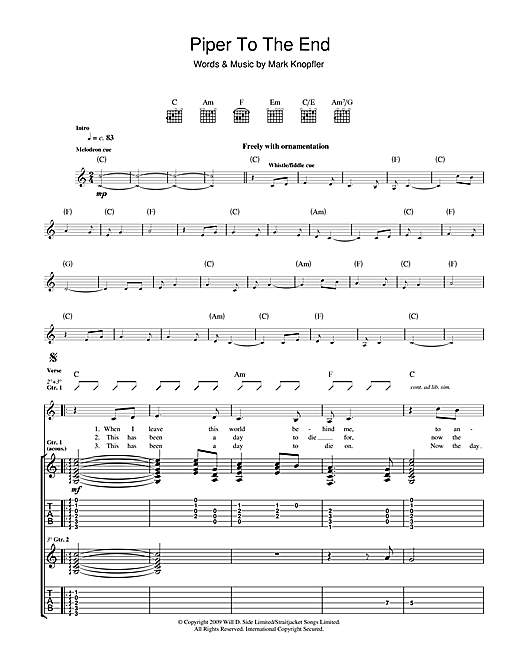 Piper To The End Sheet Music