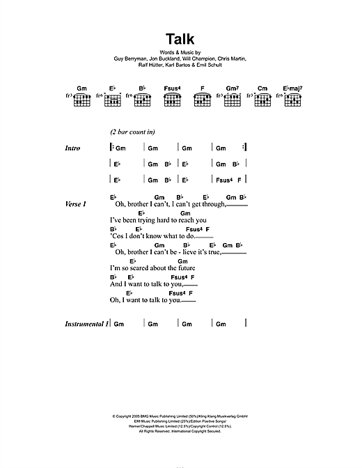 Talk Sheet Music