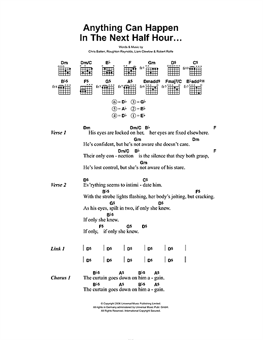 Anything Can Happen In The Next Half Hour (Guitar Chords/Lyrics)