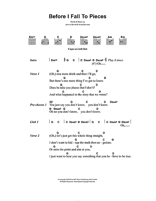 Before I Fall To Pieces Sheet Music