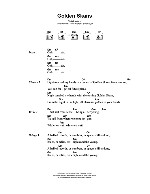 Golden Skans (Guitar Chords/Lyrics)