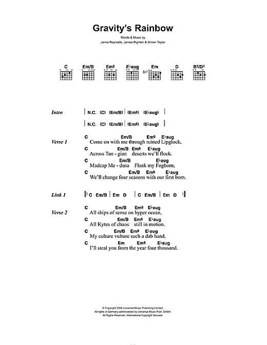 Gravity's Rainbow (Guitar Chords/Lyrics)