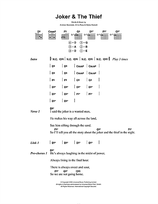 Joker & The Thief (Guitar Chords/Lyrics)