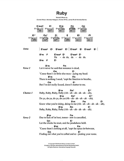 Ruby Sheet Music
