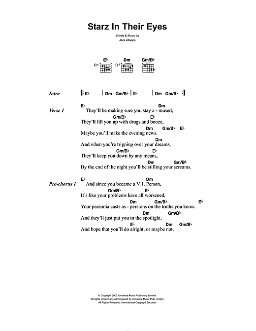 Starz In Their Eyes Sheet Music