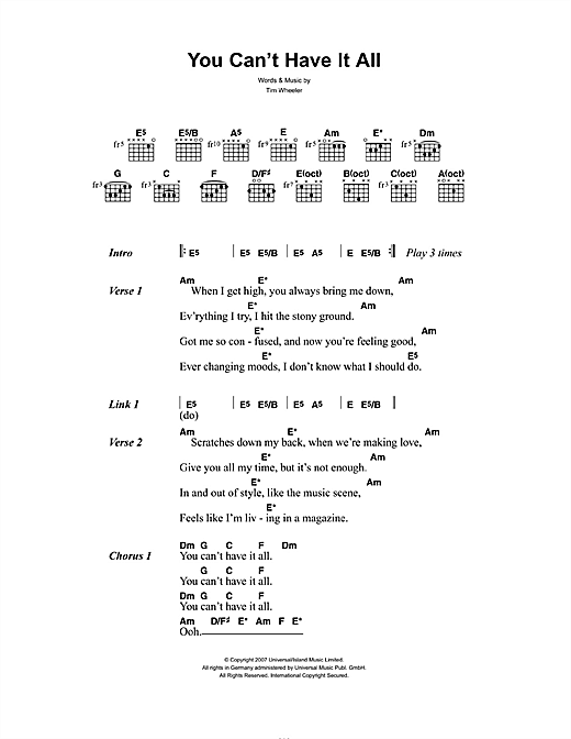 You Can't Have It All (Guitar Chords/Lyrics)