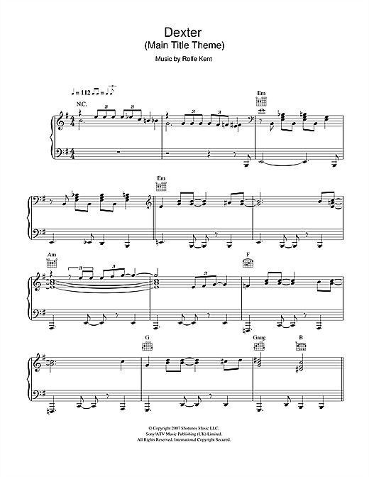 Dexter™ (Main Title Theme) Sheet Music