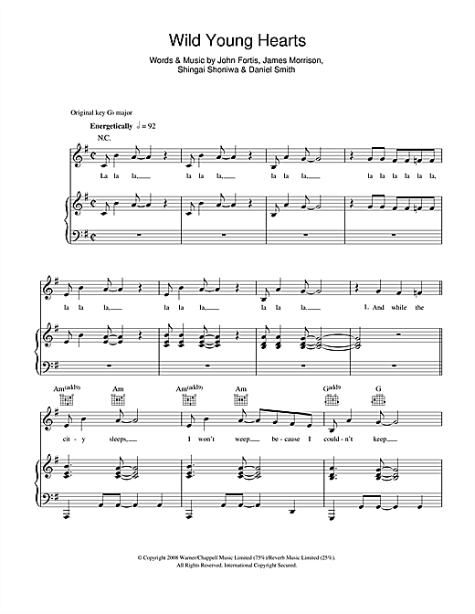 Wild Young Hearts Sheet Music
