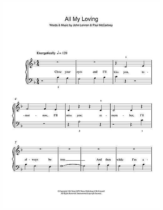 all my loving sheet music pdf