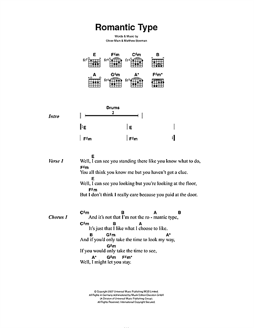 Romantic Type Sheet Music