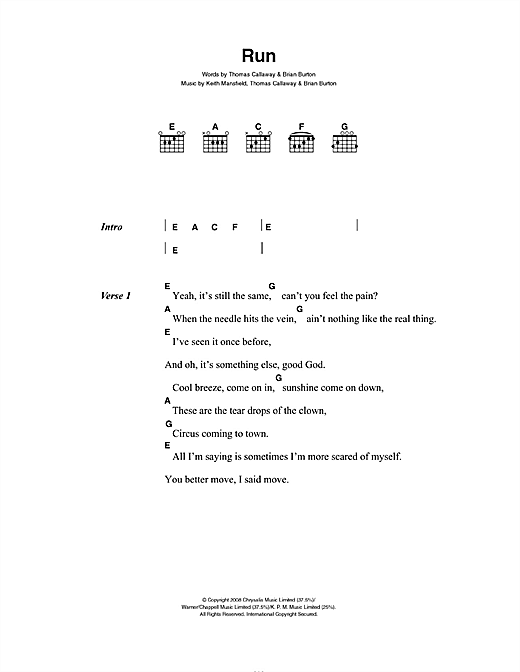 Run (Guitar Chords/Lyrics)
