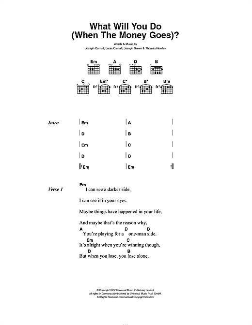 What Will You Do (When The Money Goes) (Guitar Chords/Lyrics)