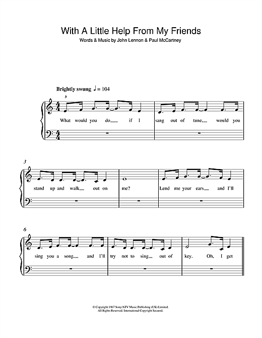 With A Little Help From My Friends Sheet Music