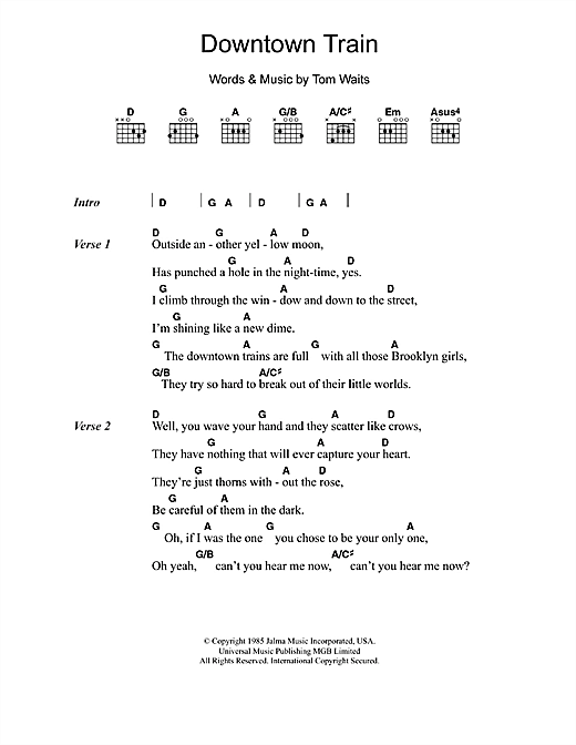 Downtown Train sheet music by Tom Waits (Lyrics & Chords – 49183)