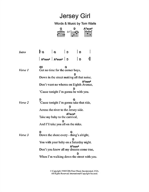 Jersey Girl Sheet Music