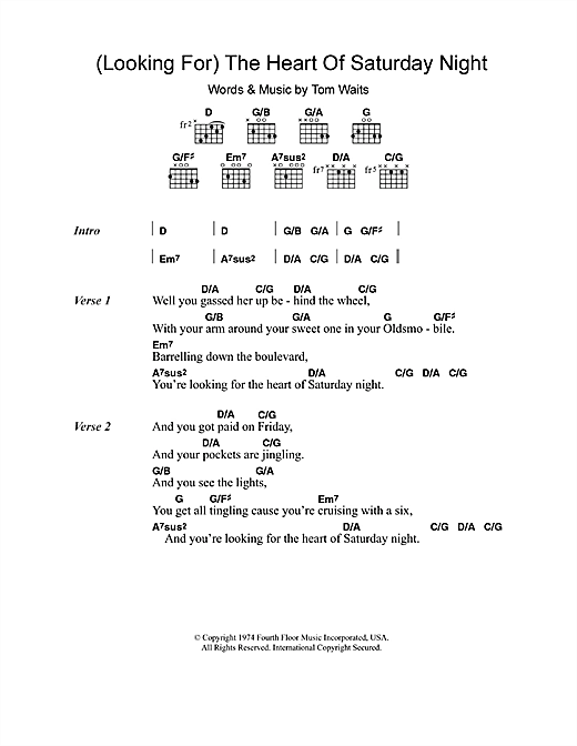 (Looking For) The Heart Of Saturday Night (Guitar Chords/Lyrics)