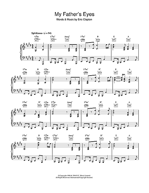 My Father's Eyes Sheet Music