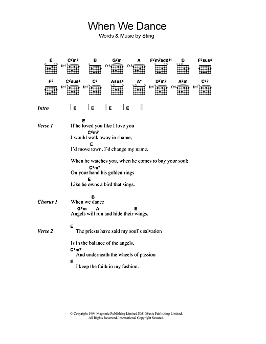 When We Dance (Guitar Chords/Lyrics)