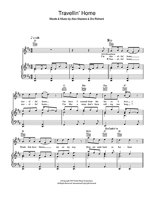 Travellin' Home Sheet Music