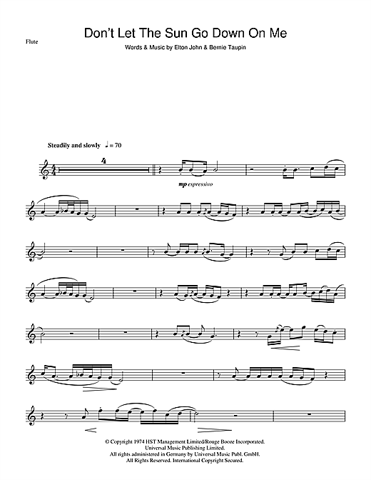 Don't Let The Sun Go Down On Me Sheet Music