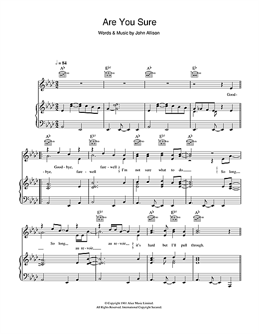 Are You Sure (Piano, Vocal & Guitar (Right-Hand Melody))