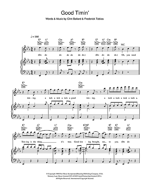 Good Timin' (Piano, Vocal & Guitar (Right-Hand Melody))