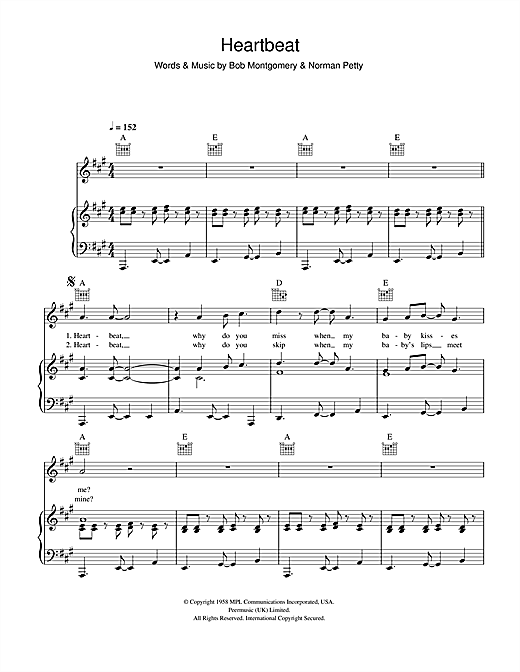 Heartbeat (Piano, Vocal & Guitar (Right-Hand Melody))