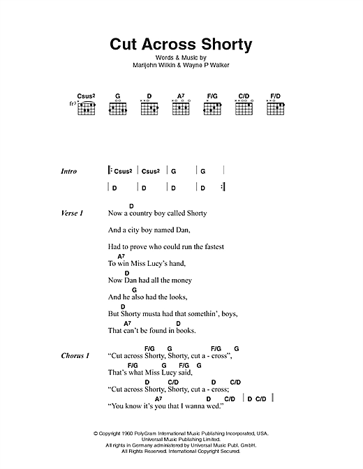 Cut Across Shorty (Guitar Chords/Lyrics)